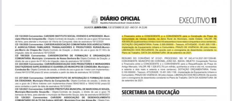 Dom Basílio: Diário Oficial do Estado faz Publicação de Convênio para construção de Praça em Várzea Grande