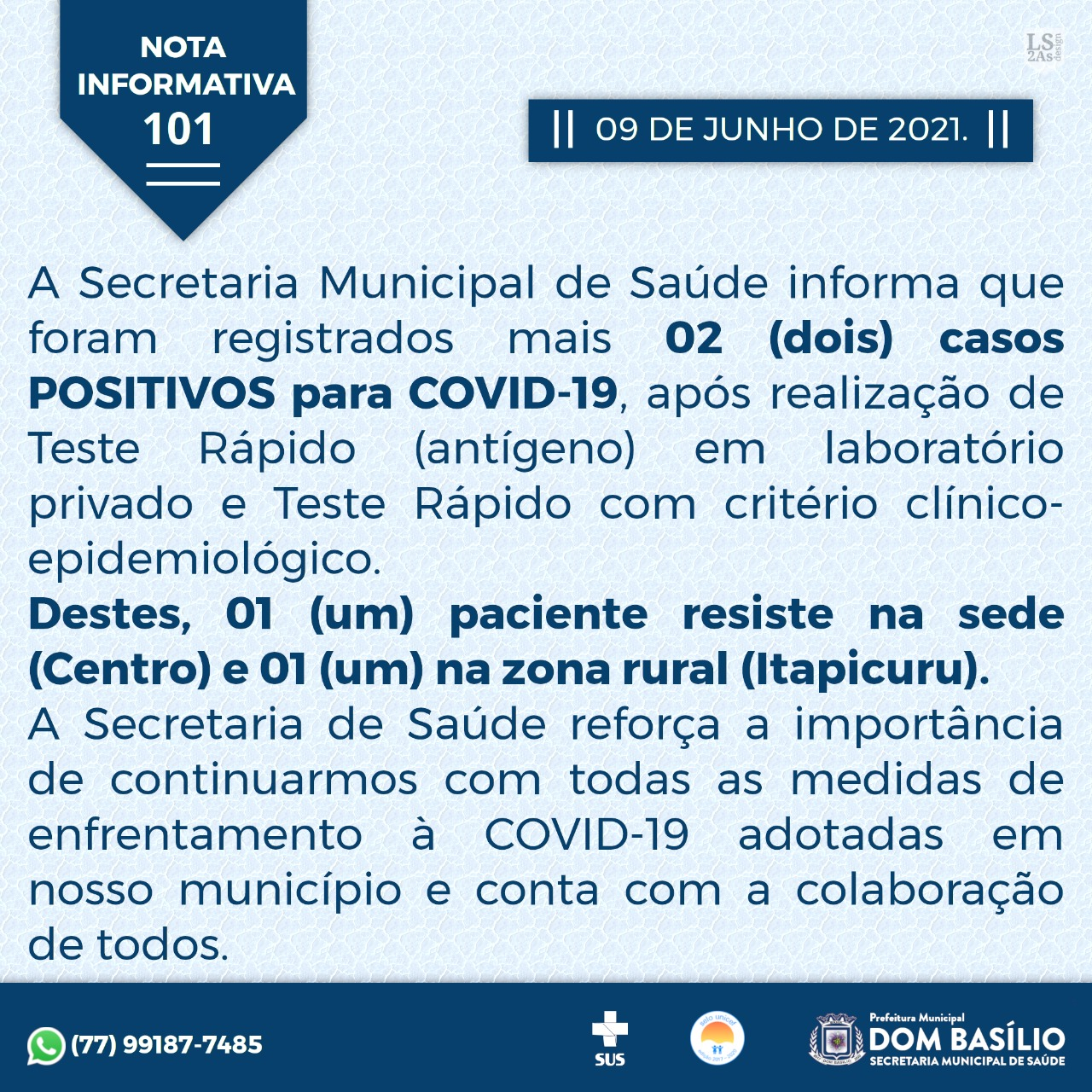 Boletim Covid-19 de Dom Basílio (09/06)