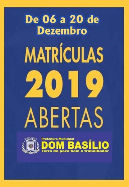 Matrículas abertas para a Rede Municipal de Educação de Dom Basílio