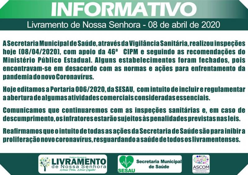 LIVRAMENTO: VIGILÂNCIA SANITÁRIA REALIZOU INSPEÇÕES E FECHOU ALGUNS ESTABELECIMENTOS