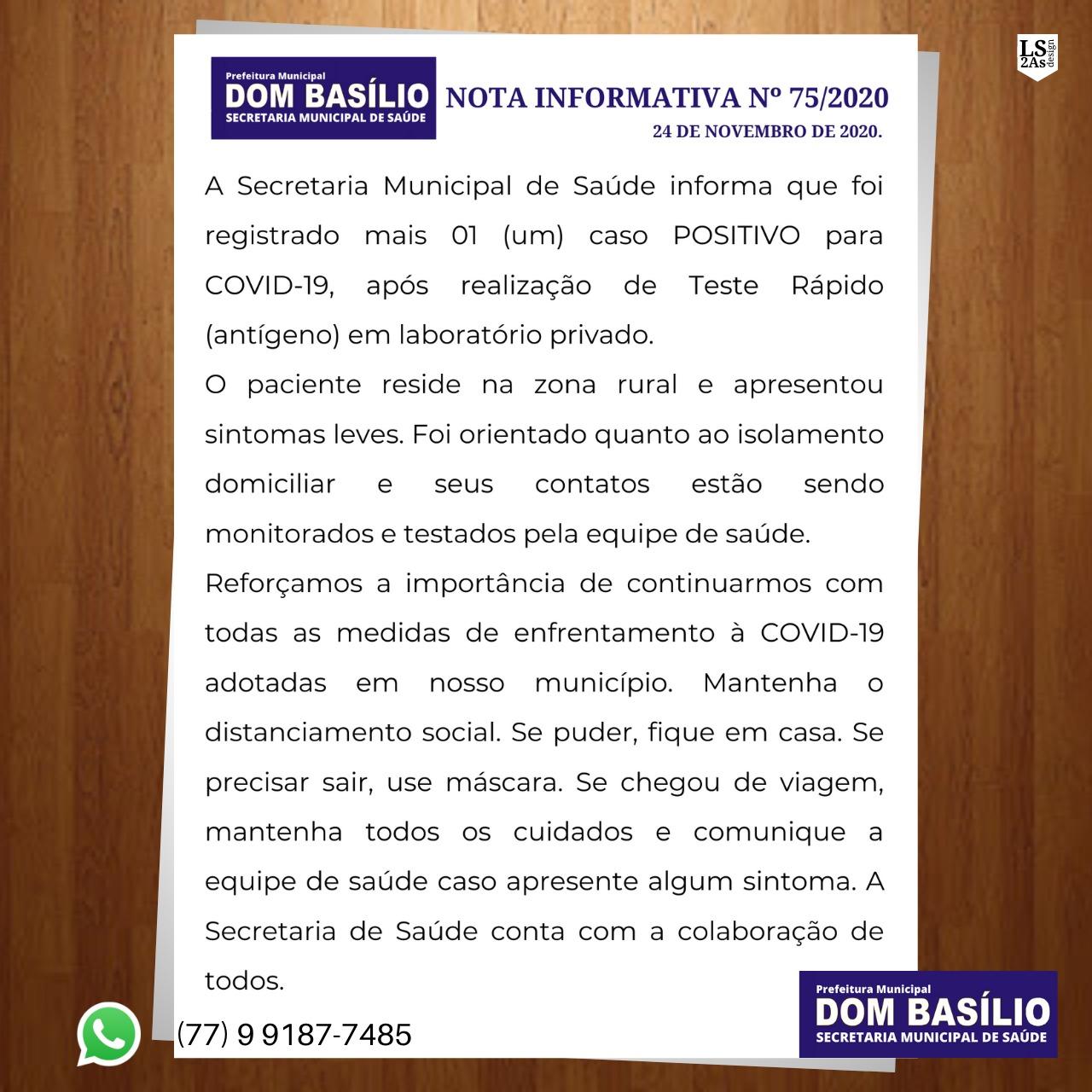 MAIS UM CASO DE COVID-19 EM DOM BASÍLIO