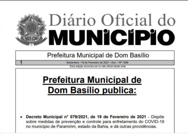DOM BASÍLIO: PREFEITURA PUBLICA NOVO DECRETO